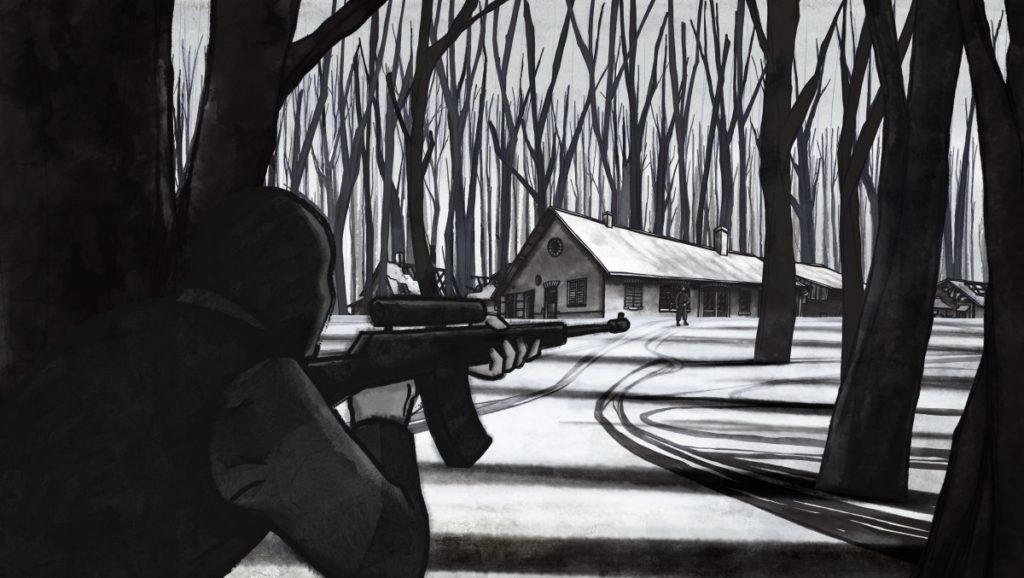 Scharfschütze zielt auf eine Strasse.